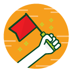 An icon of a hand holding a flag, depicting leadership