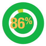 An icon with 86% on it, depicting number of students achieving Band 4, 5 and 6