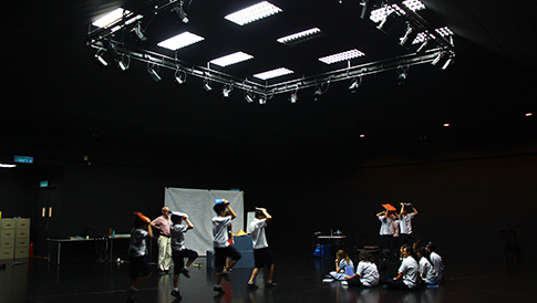 Our students practicing for their performance in the Black Box Theatre under the supervision of our staff.